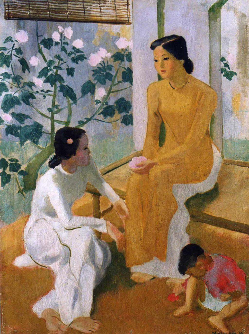 Vietnam Most Famous Paintings - Two Young Ladies with A Baby