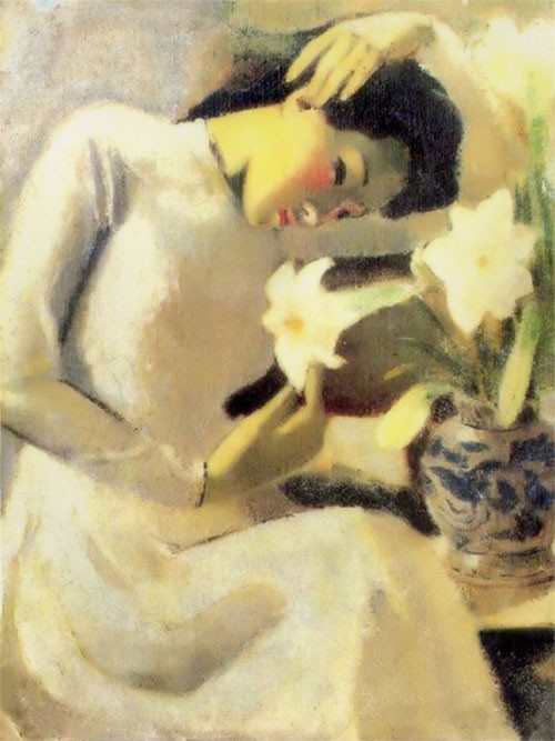 Vietnam Most Famous Paintings - Young Lady with Lilies