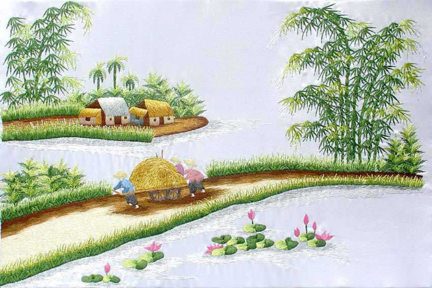 Vietnamese Embroidery - Rural Scenery
