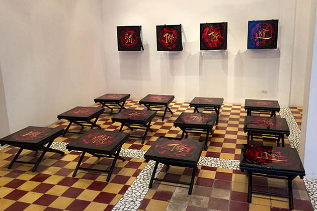 Vietnamese Lacquer Painting with Installation Art