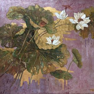 White Lotus 01 - Vietnamese Lacquer Paintings on Wood by Do Khai