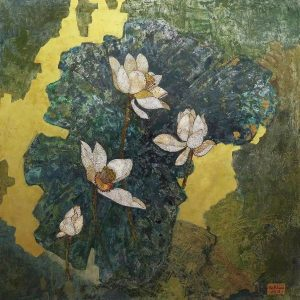 White Lotus 02 - Vietnamese Lacquer Paintings on Wood by Do Khai