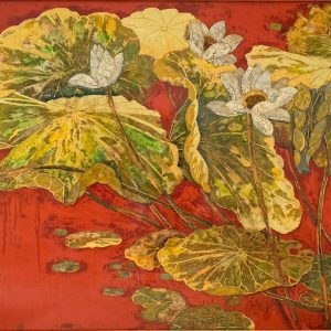 White Lotus 03 - Vietnamese Lacquer Paintings on Wood by Do Khai