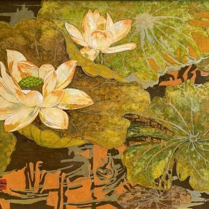 White Lotus 10 - Vietnamese Lacquer Painting Flower by Artist Do Khai
