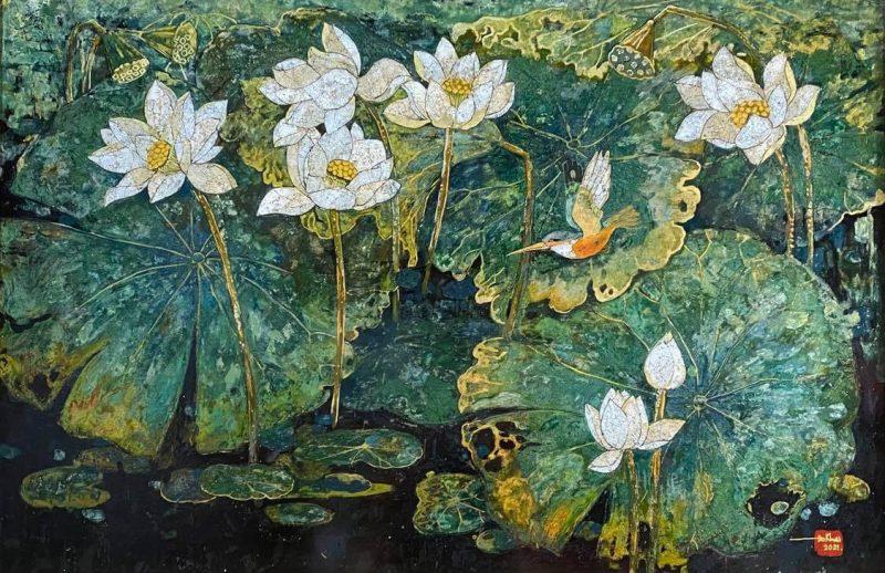 White Lotus - Do Khai Artist - Lacquer on Wood Painting