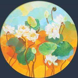 White Lotus II - Vietnamese Oil Paintings Flower by Artist An Dang