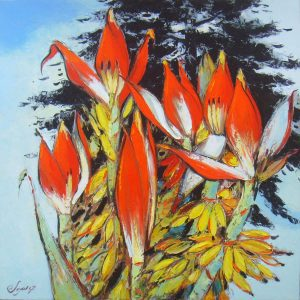 Wild Banana Follower II - Vietnamese Oil Paintings of Flower by Dang Dinh Ngo