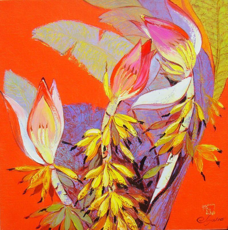 Wild Banana Follower III - Vietnamese Oil Paintings of Flower by Dang Dinh Ngo