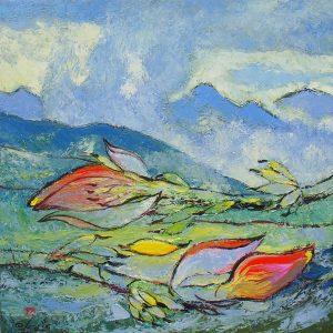 Wild Banana Follower VI - Vietnamese Oil Paintings of Flower by Dang Dinh Ngo