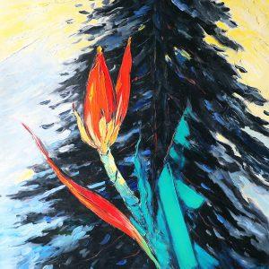 Wild Banana Follower I - Vietnamese Oil Paintings of Flower by Dang Dinh Ngo