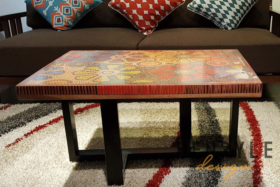 Wild Cosmos Flower Colored-Pencil Coffee Table 14