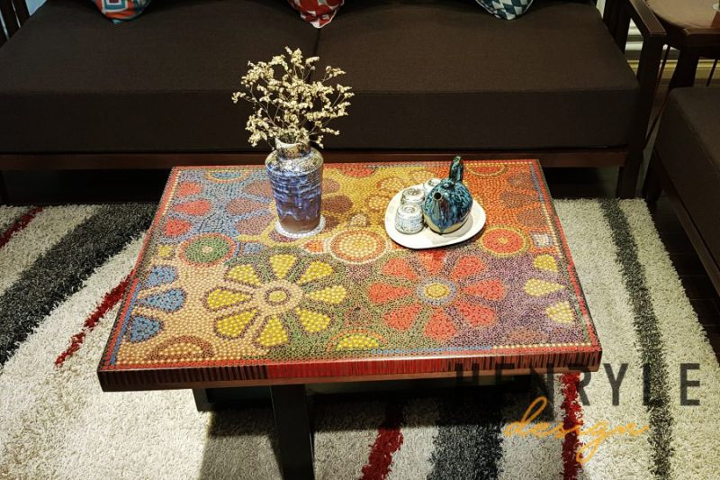 Wild Cosmos Flower Colored-Pencil Coffee Table 15