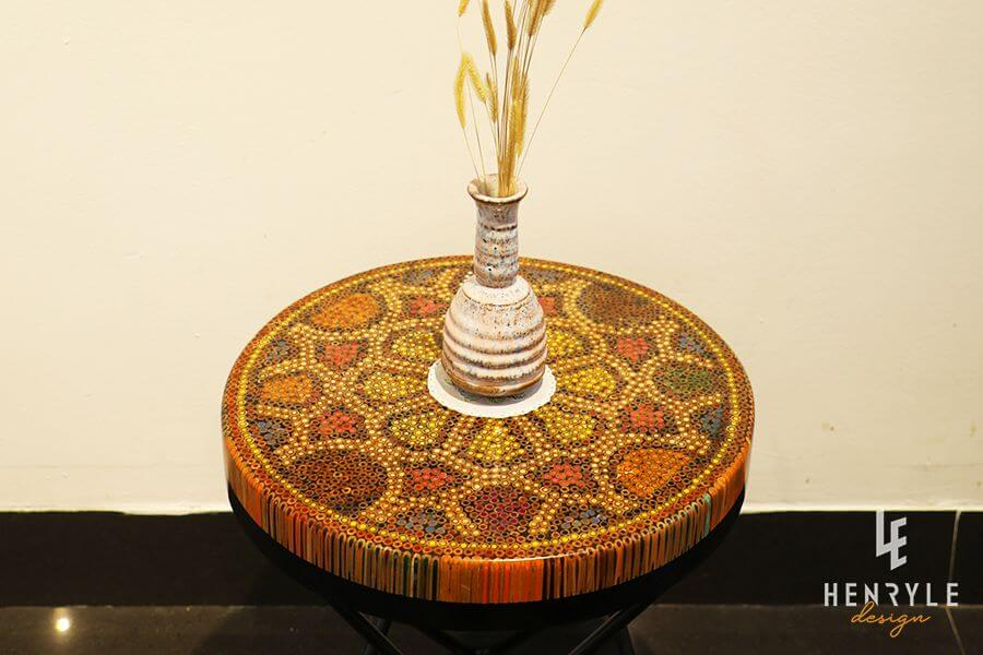 Wild Cosmos Flower Colored-Pencil Coffee Table II 1