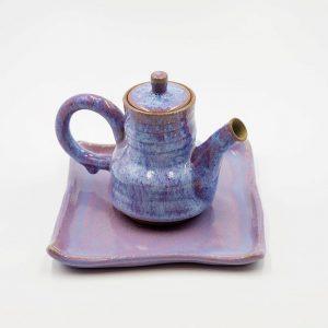 adelia pottery tea pot with tray