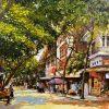 Autumn - Vietnamese Street Oil Painting by Artist Giap Van Tuan