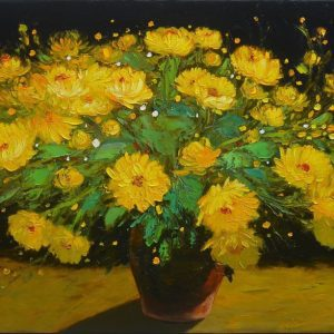 Autumn's Daisy - Vietnamese Oil Painting Still Life by Artist Dang Dinh Ngo