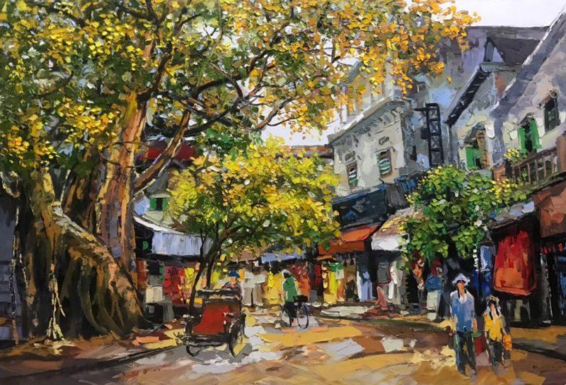 Banyan - Vietnamese Street Oil Painting by Artist Giap Van Tuan