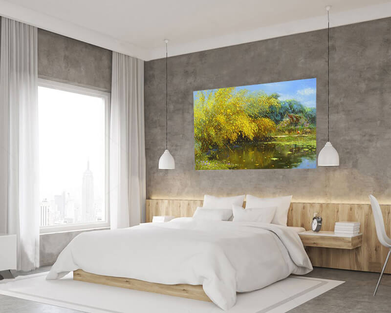 bedroom with landscape paintings by famous artirsts