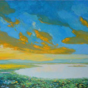 Blue Sunset - Vietnamese Oil Painting Landscape by Artist Dang Dinh Ngo