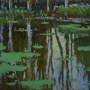 By the Pond's Shore I - Vietnamese Oil Painting Landscape by Artist Dang Dinh Ngo