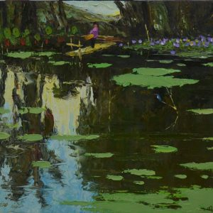 By the Pond's Shore II - Vietnamese Oil Painting Landscape by Artist Dang Dinh Ngo