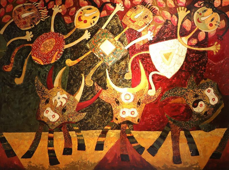 children and buffaloes - lacquer paintings