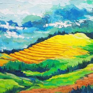 clouds over hoang lien son mountain range - vietnamese acrylic paintings