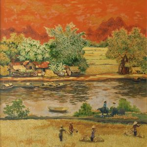 Countryside - Vietnamese Lacquer Paintings by Artist Chu Viet Cuong