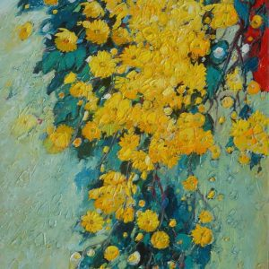 Daisies I - Vietnamese Oil Paintings by Artist Dang Dinh Ngo