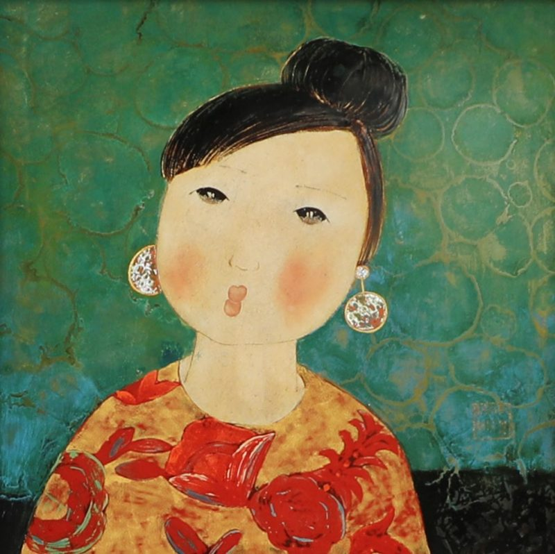 Daughter - Vietnamese Lacquer Paintings by Artist Dang Hien