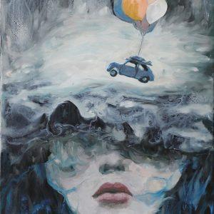 Flying Adventure - Vietnamese Oil Painting by Artist Nguyen Tan Phat