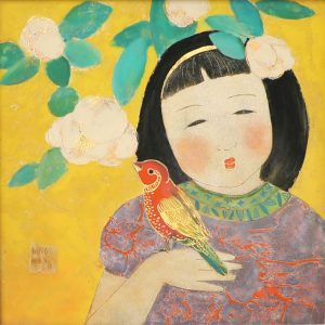 Girl & Sparrow - Vietnamese Lacquer Paintings by Artist Dang Hien