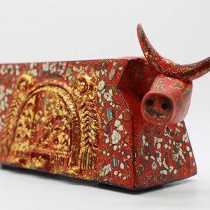 Gorgeous Buffalo I - Vietnamese Lacquer Artworks by Artist Nguyen Tan Phat