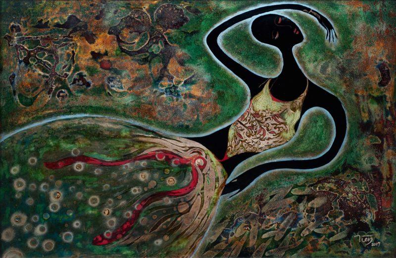 Green Dream - Vietnamese Lacquer Painting by Artist Trieu Khac Tien
