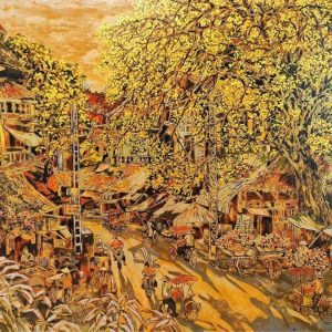 Hang Buom Street II - Vietnamese Lacquer Painting by Artist Nguyen Hong Giang