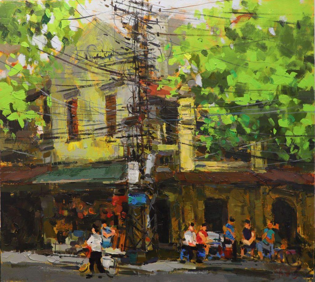 Hang Ca Street - Vietnamese Oil Paintings of Street by artist Pham Hoang Minh