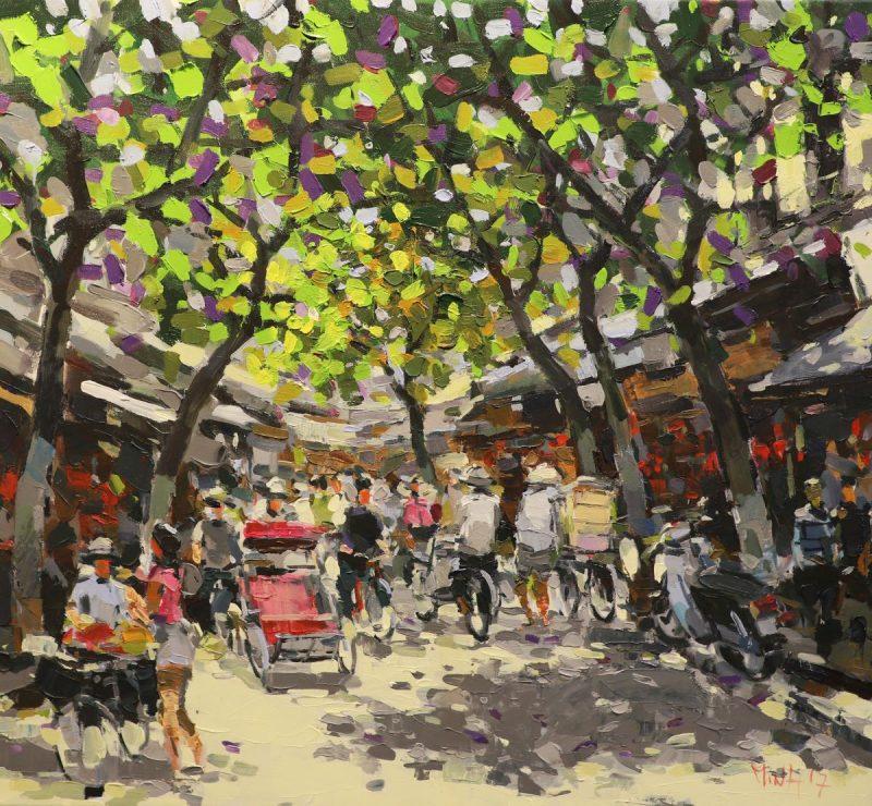 Hang Ma Street - Vietnamese Oil Paintings of Street by artist Pham Hoang Minh