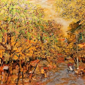 hang manh street - vietnamese lacquer on wood paintings