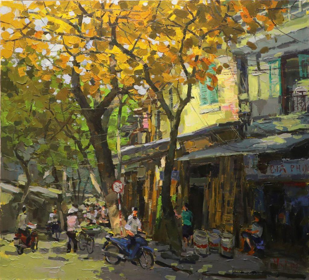 Hang Vai Street - Vietnamese Oil Paintings of Street by Artist Pham Hoang Minh