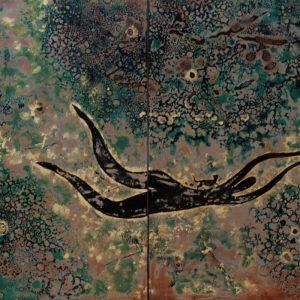 Immense Ocean - Vietnamese Lacquer Painting by Artist Trieu Khac Tien