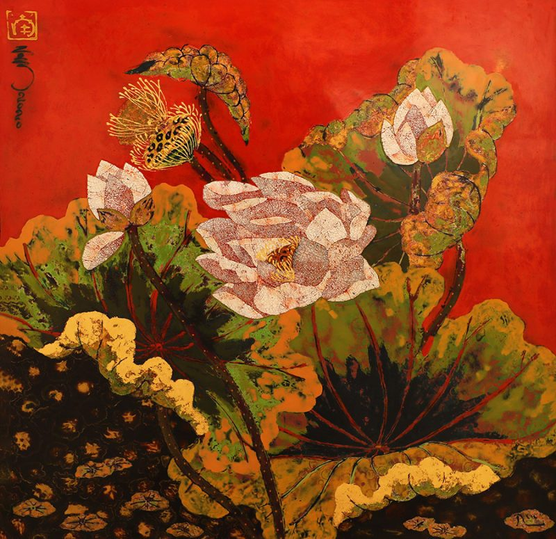 Lotus III - Vietnamese Lacquer Paintings of Flower by Artist Tran Thieu Nam