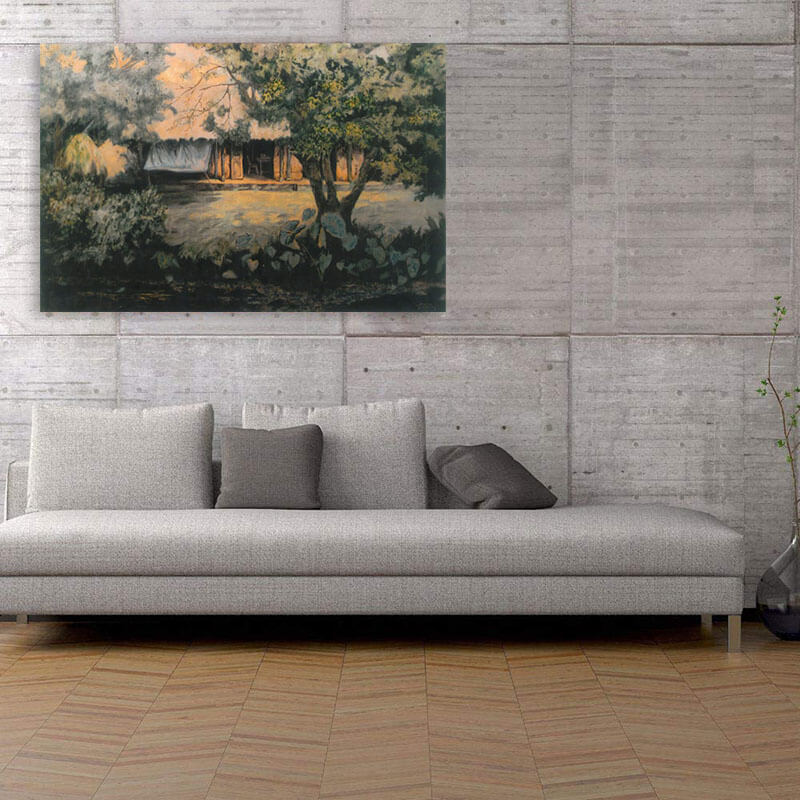 living room with landscape paintings
