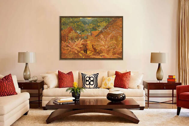 living rooms with lacquer painting