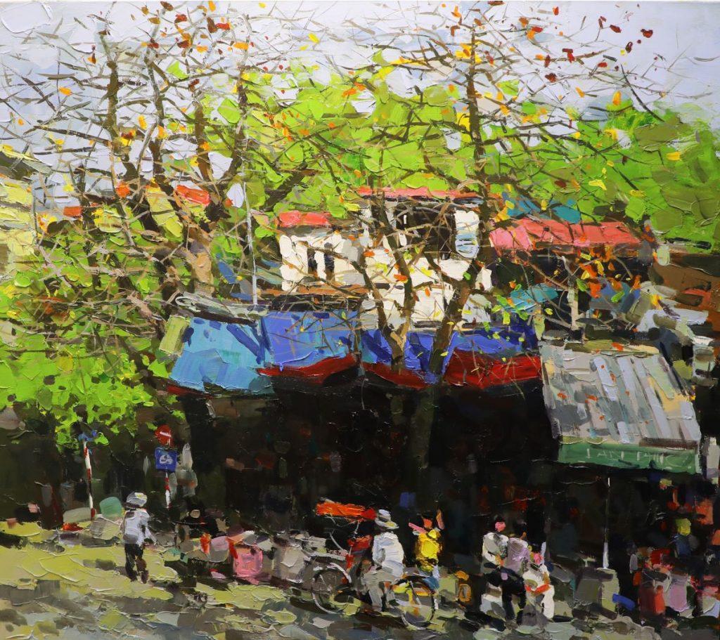 Lo Su Street II - Vietnamese Oil Paintings of Street by Artist Pham Hoang Minh
