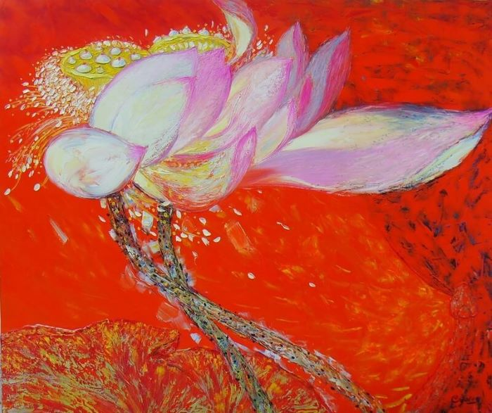 lotus I painting famous vietnamese artists