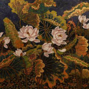 Lotus XVII - Vietnamese Lacquer Paintings Flower by Artist Tran Thieu Nam