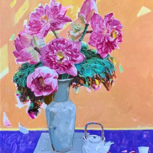 Still Life: Tea & Lotus - Vietnamese Oil Painting by Artist Dinh Dong