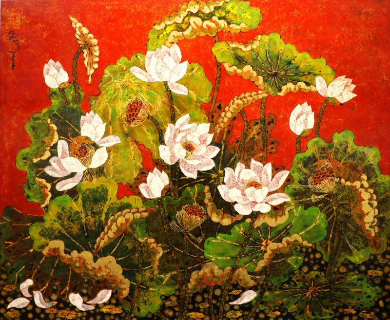 Lotus IX - Vietnamese Lacquer Paintings of Flower by Artist Tran Thieu Nam
