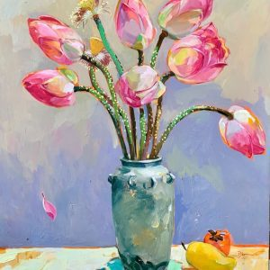 Still Life: Lotus - Vietnamese Oil Painting by Artist Dinh Dong
