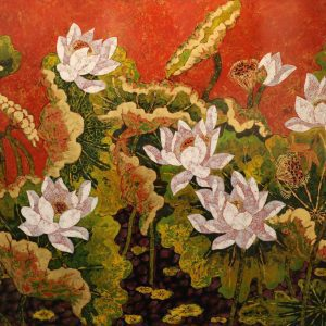 Lotus VIII - Vietnamese Lacquer Paintings of Flower by Artist Tran Thieu Nam